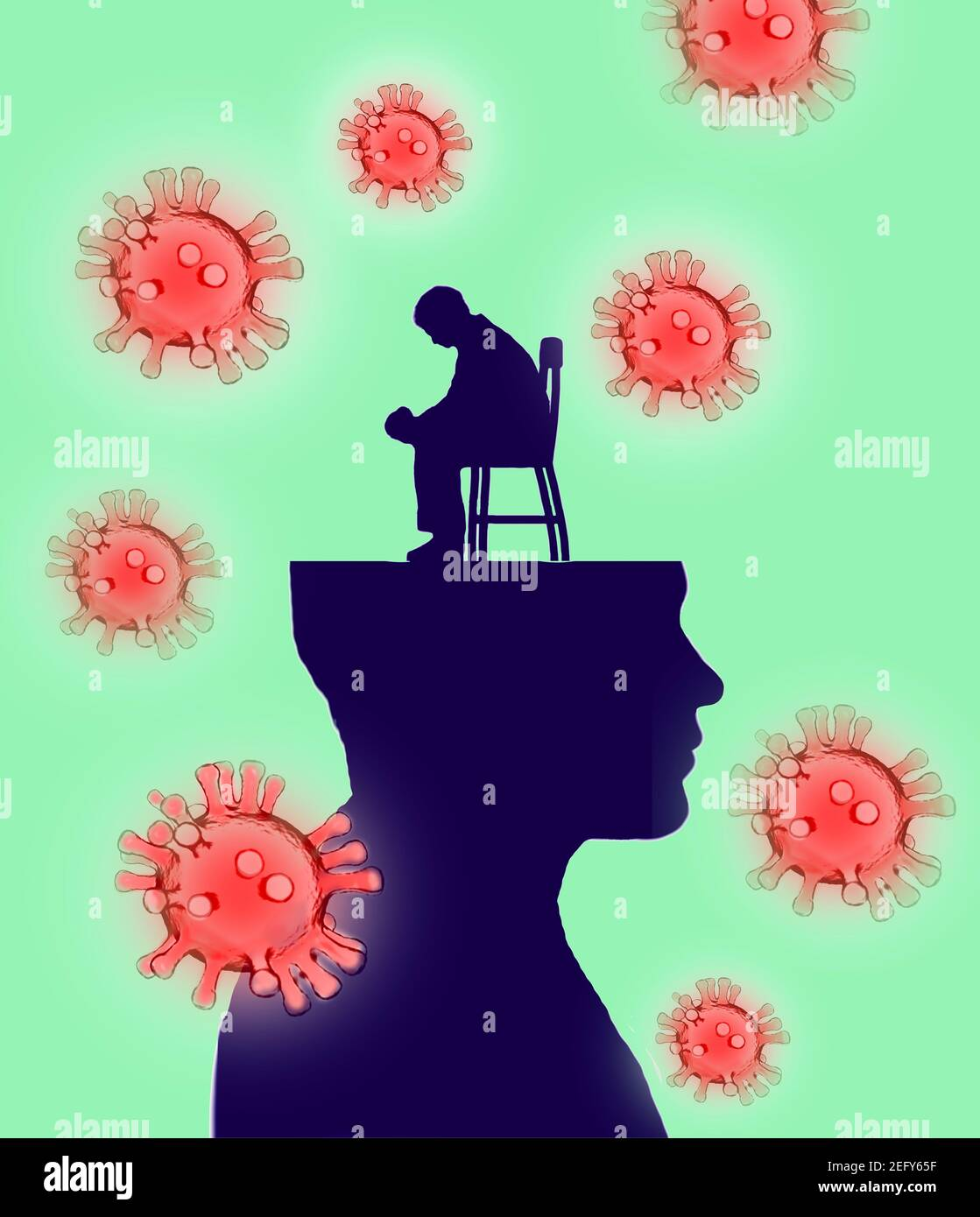 Worried man sitting on a chair on a profile head surrounded by coronavirus Stock Photo