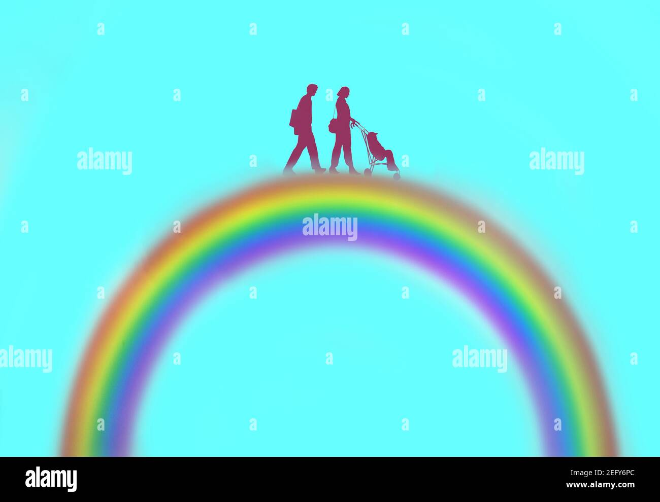 young hetrosexual couple on a rainbow pushing a child in a stroller Stock Photo