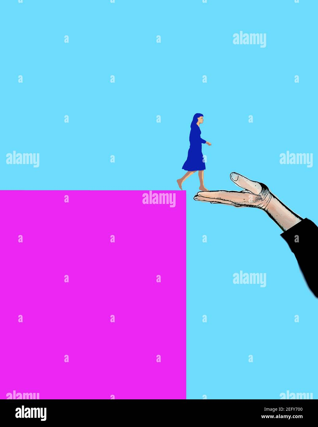 woman stepping from a high block onto a large hand Stock Photo