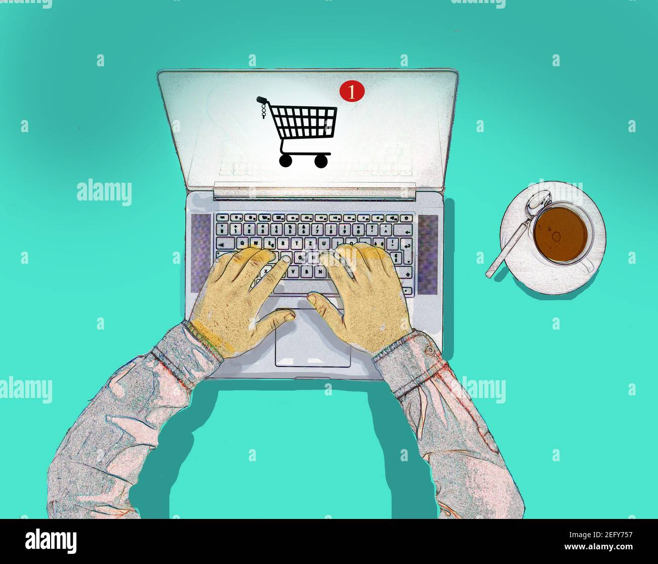 overhead view of hands on a laptop keyboard with a shopping trolly icon on the screen Stock Photo