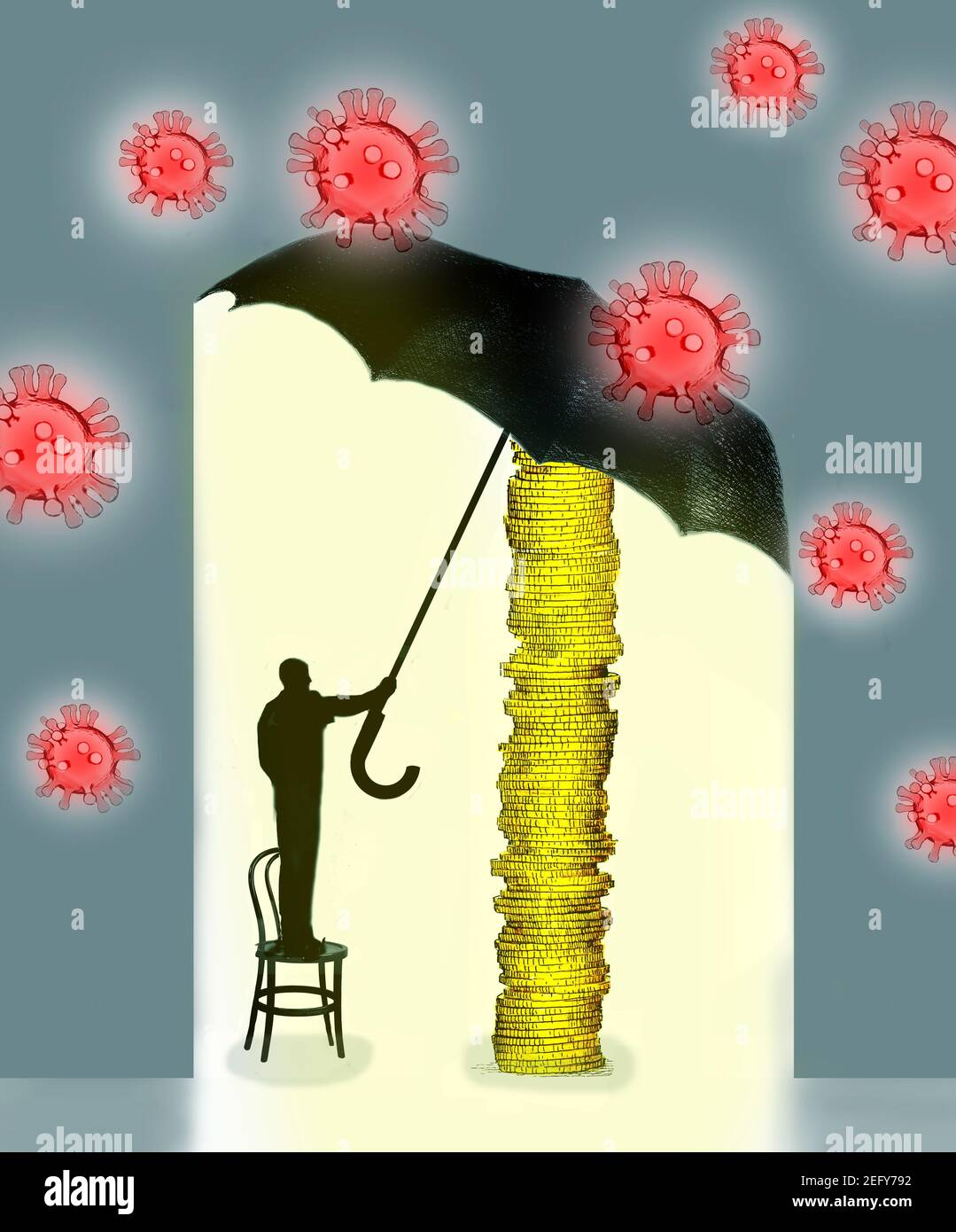 man standing on chair holding a large umbrella surrounded by coronavirus Stock Photo
