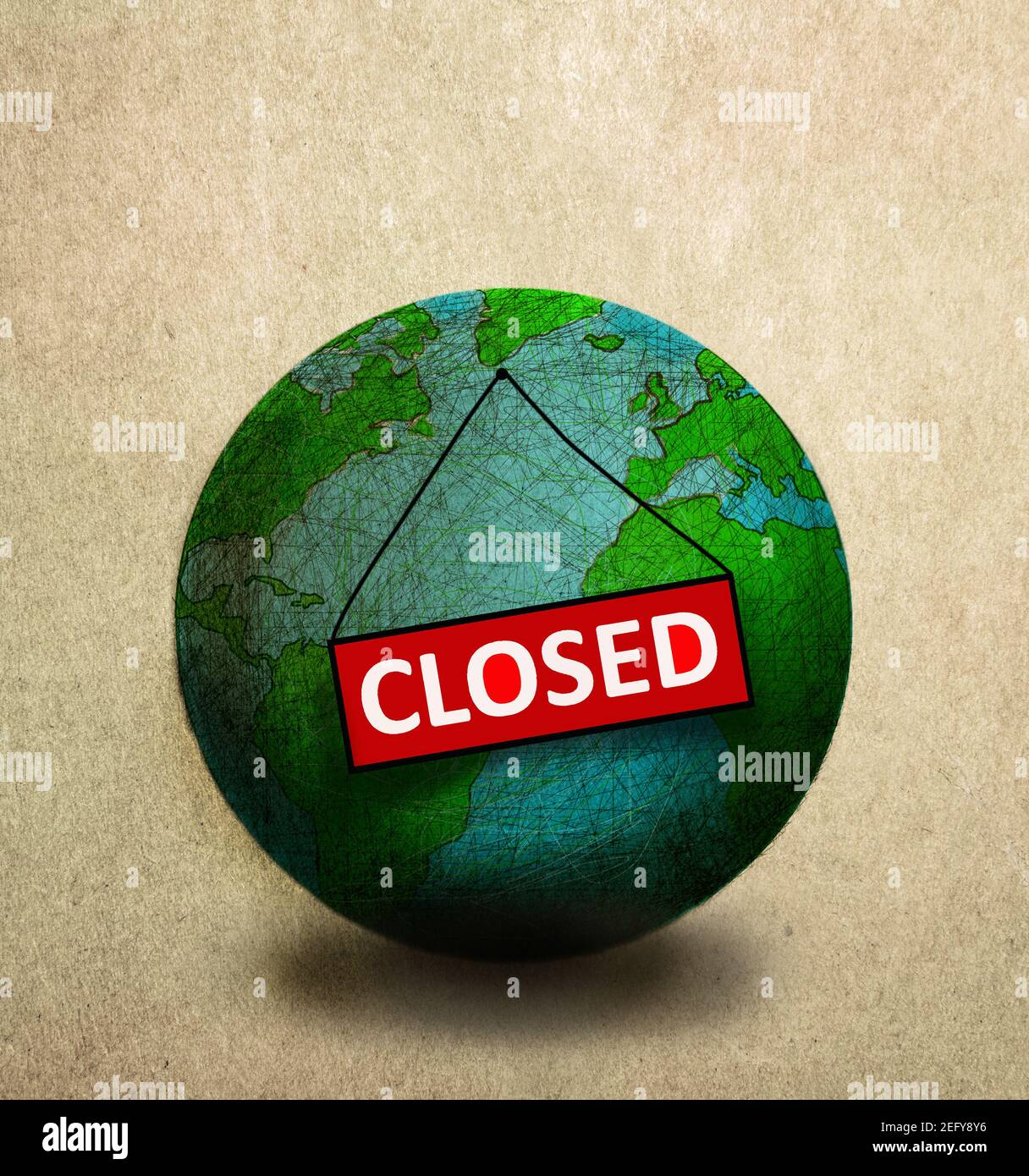 """world with """"closed"""" sign attached Stock Photo"""