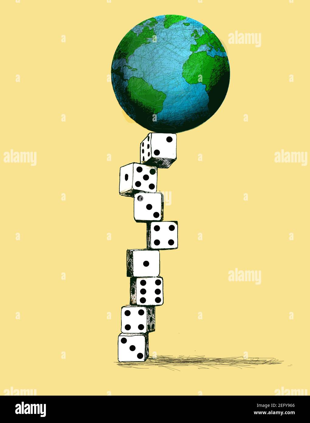planet earth balanced on top of a column of dice Stock Photo