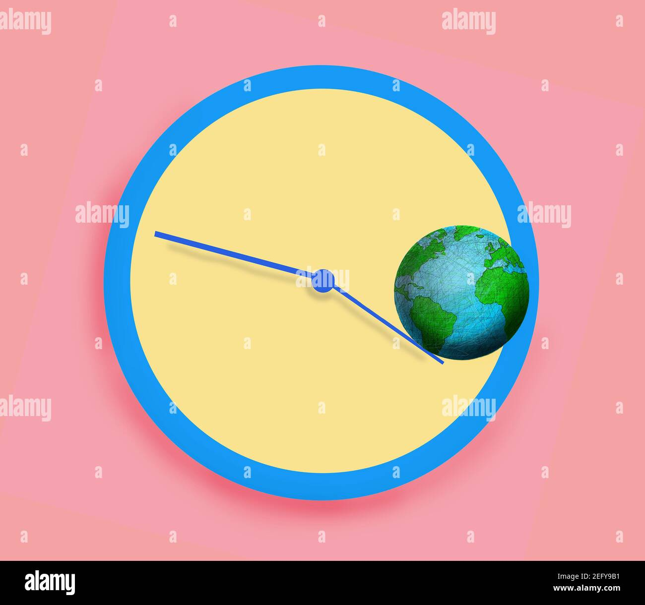 planet earth rolling of the hands of a clock Stock Photo