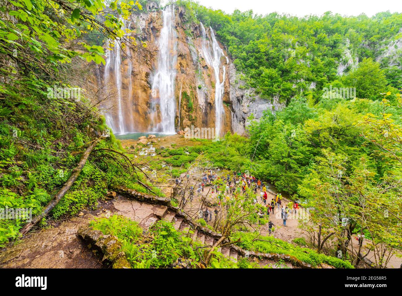 Veliki slap Big waterfall famous place Spring season Green forest Plitvice lakes Croatia Europe waterflow water flowing flow view from above elevated Stock Photo
