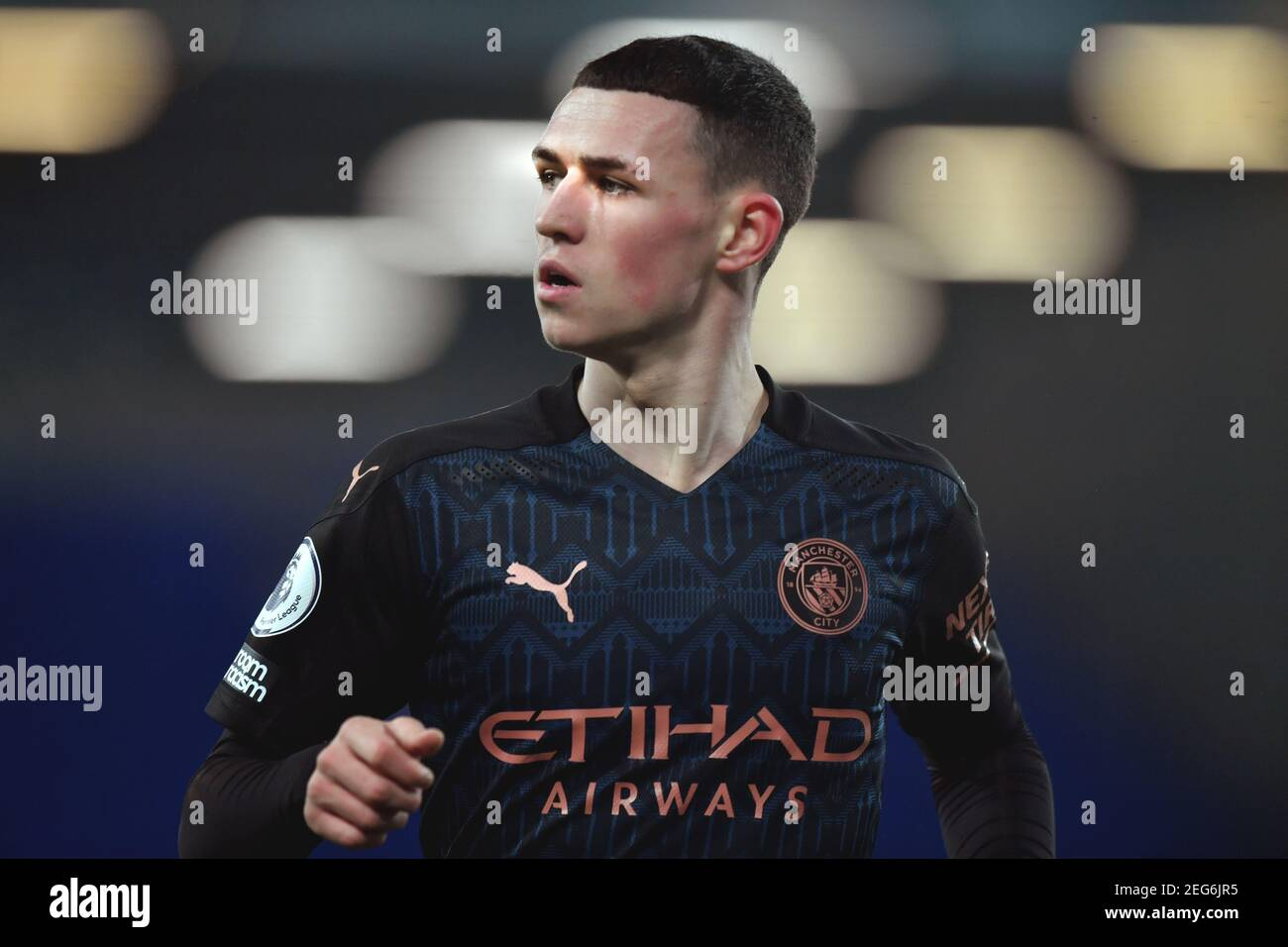 Liverpool, United Kingdom, 17th February 2021. Manchester City's Phil Foden. Credit: Anthony Devlin/Alamy Live News Stock Photo
