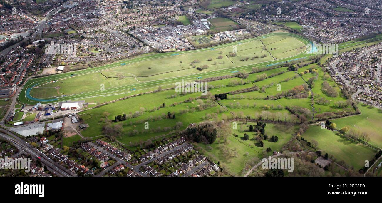 aerial view of Leicester Racecourse and Leicester Golf Centre Stock Photo