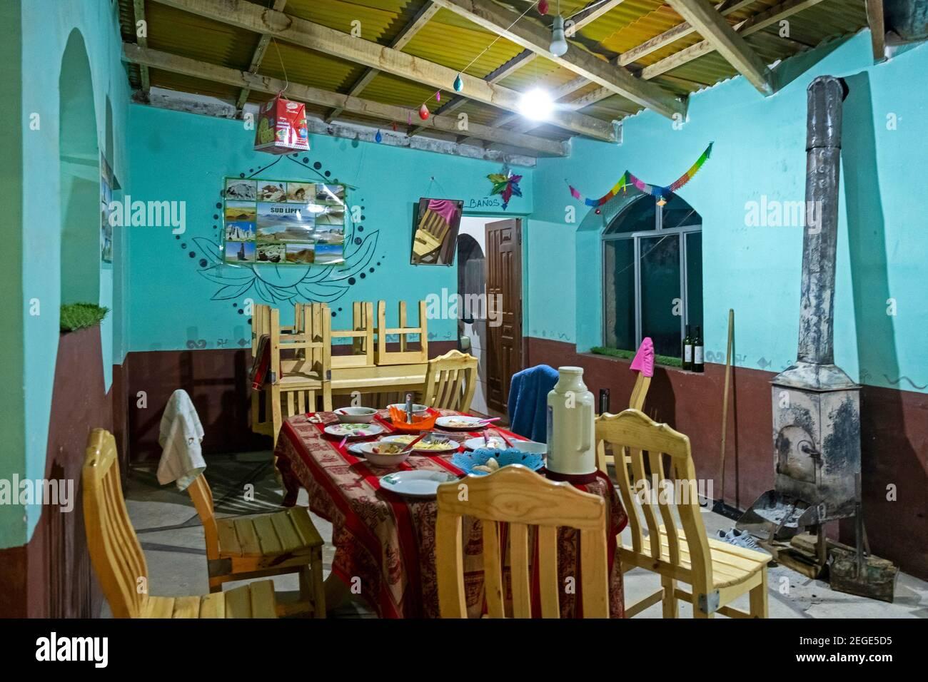 Interior of refuge / hostel at Laguna Colorada / Red Lagoon, salt lake in the Eduardo Avaroa Andean Fauna National Reserve, Bolivia Stock Photo