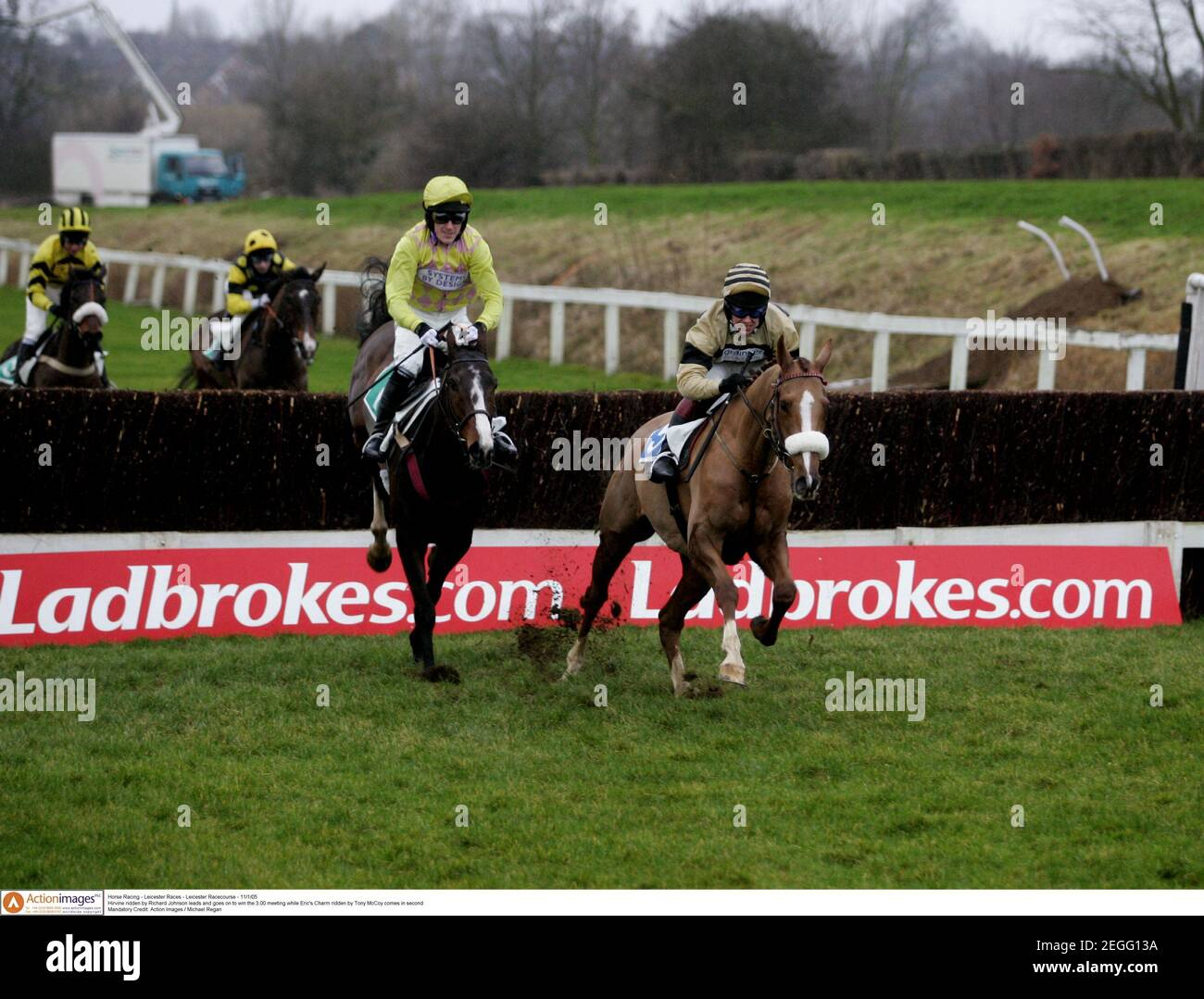 Horse Racing - Leicester Races - Leicester Racecourse - 11/1/05  Hirvine ridden by Richard Johnson leads and goes on to win the 3.00 meeting while Eric's Charm ridden by Tony McCoy comes in second   Mandatory Credit: Action Images / Michael Regan Stock Photo