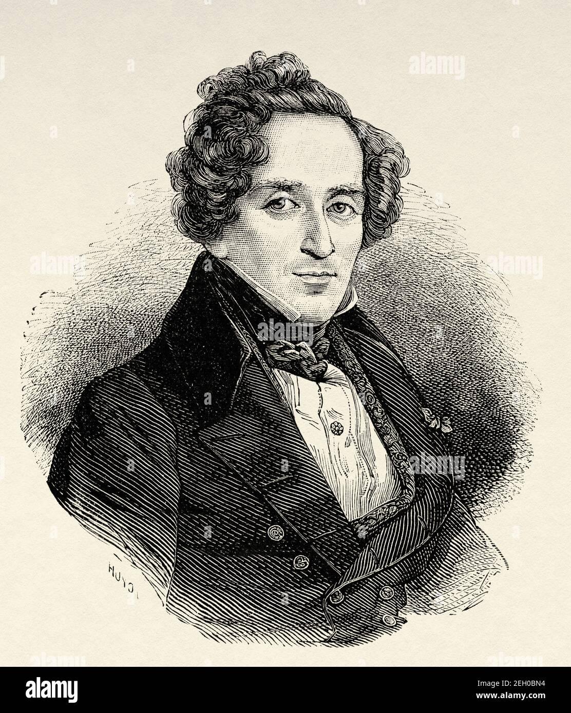 Portrait of the German opera composer Giacomo Meyerbeer (1791-1864) Germany, Europe. Old 19th century engraved illustration from El Mundo Ilustrado 1879 Stock Photo
