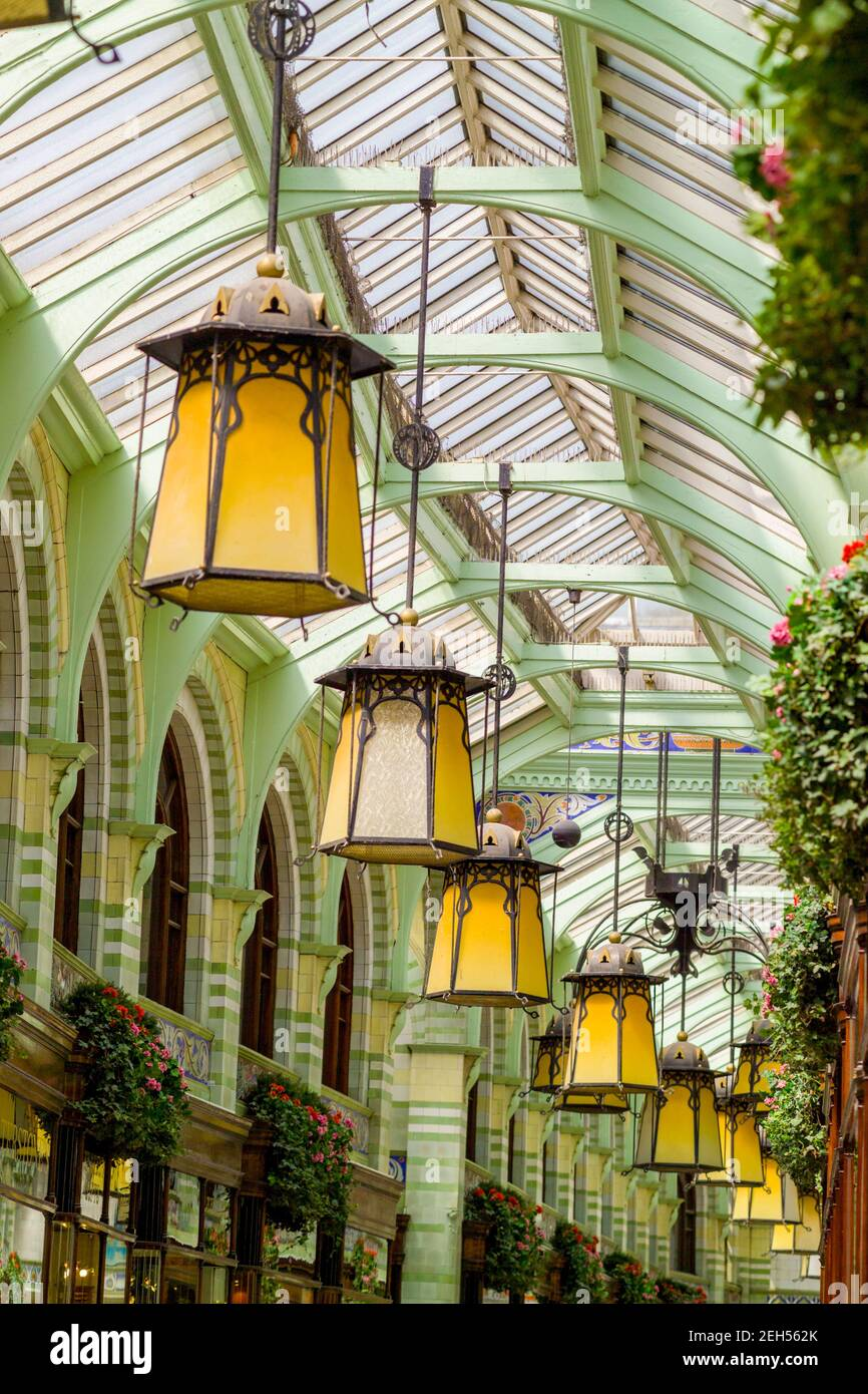 Interior of the Royal Arcade In Norwich Norfolk, showing the Art Nouveau hanging lights. Stock Photo