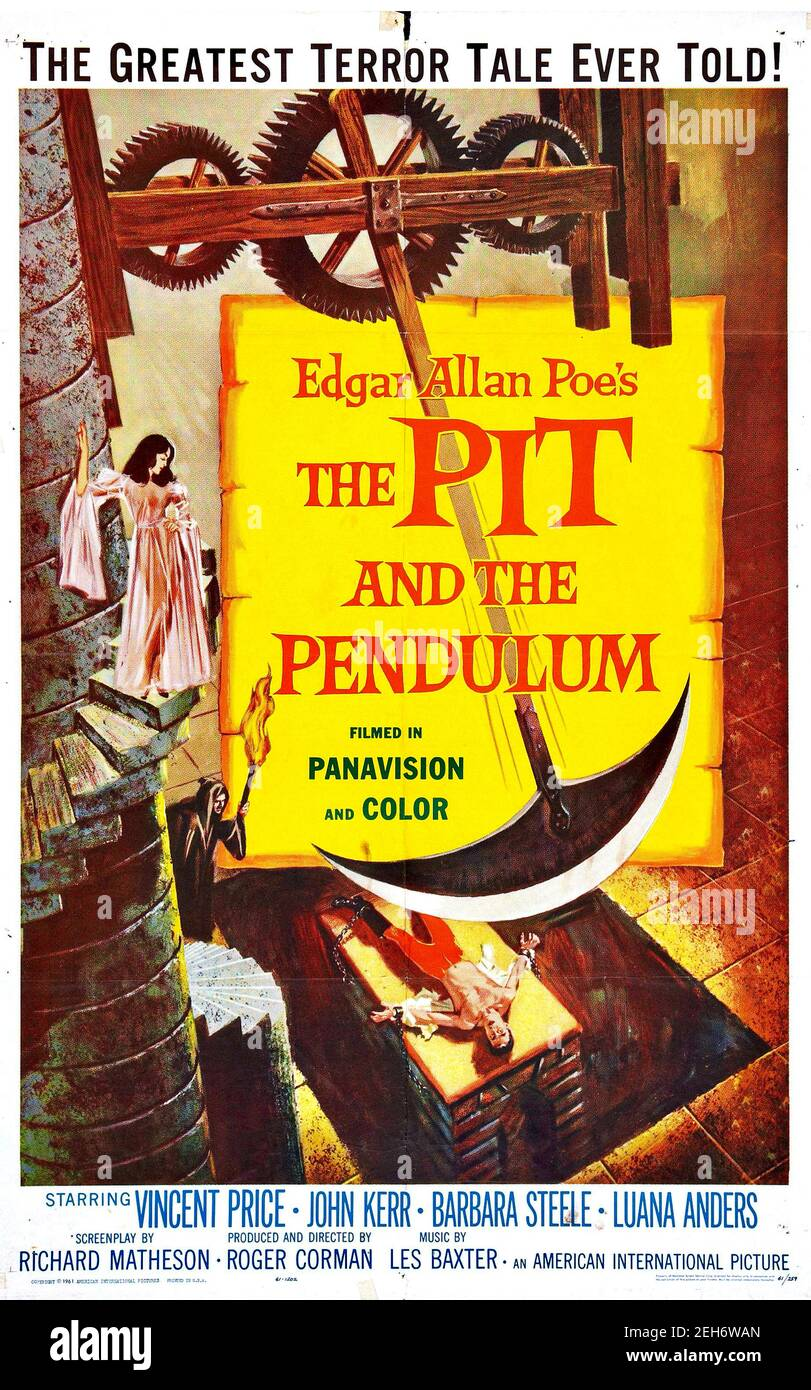 Reynold Brown designed poster adverting the film The Pit and the Pendulum starring Vincent Price and inspired by an Edgar Allen Poe story. Stock Photo