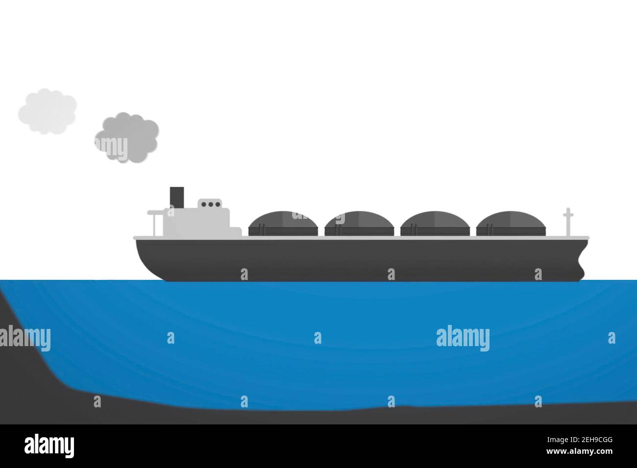 Transportation of liquefied gas on a tanker. Illustration of the hydrocarbon transportation scheme. Stock Photo