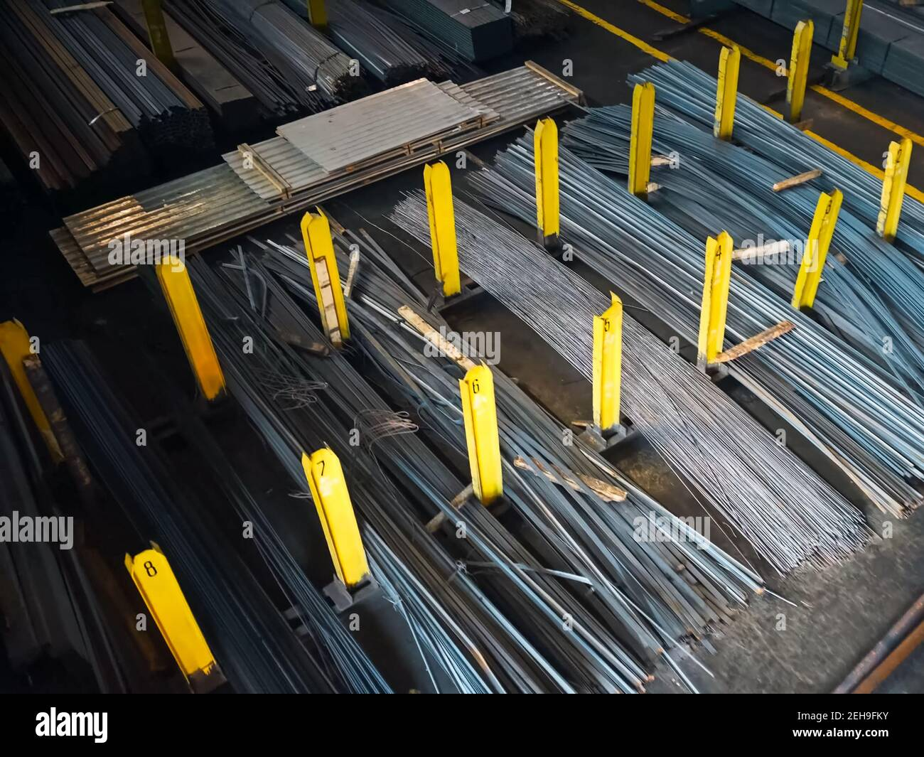 Metal products at the construction metal base. Metal warehouse. Stock Photo
