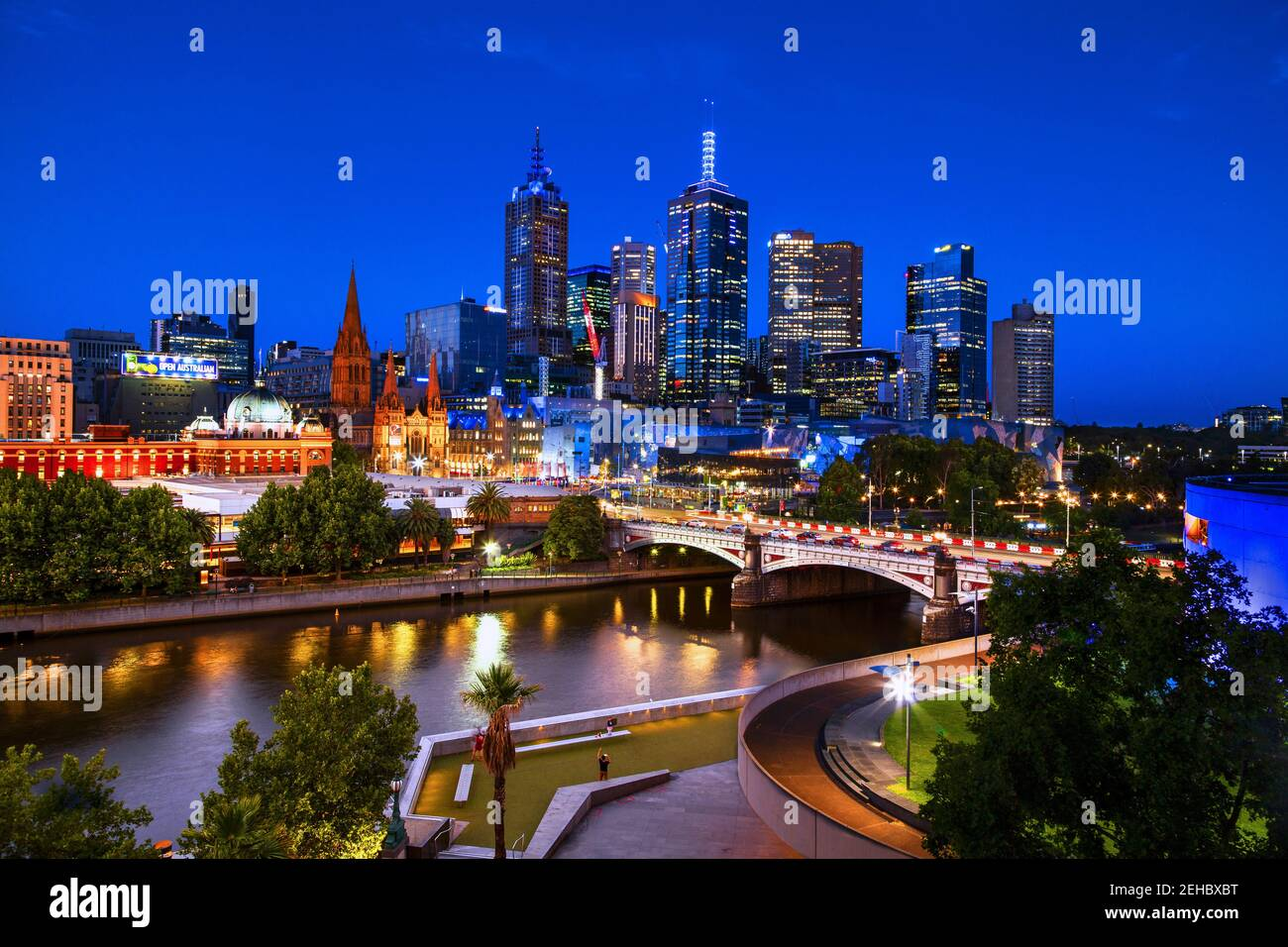 Melbourne, Australia skyline at night: Looking across the Yarra River to Princes Bridge and Federation Square. Stock Photo
