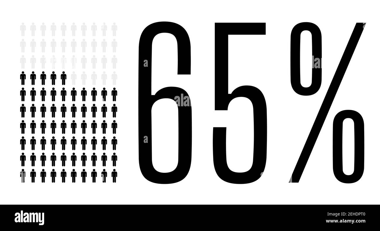 Sixty five percent people graphic, 65 percentage diagram. Vector people icon chart design for web ui design. Flat vector illustration black and grey o Stock Vector