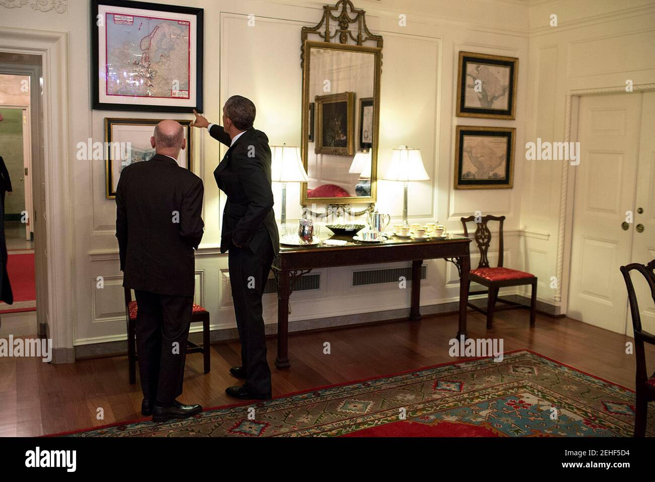 President Barack Obama Talks With President Ashraf Ghani Of Afghanistan In The Map Room Following A Working Lunch In The Old Family Dining Room Of The White House March 24 2015 Stock