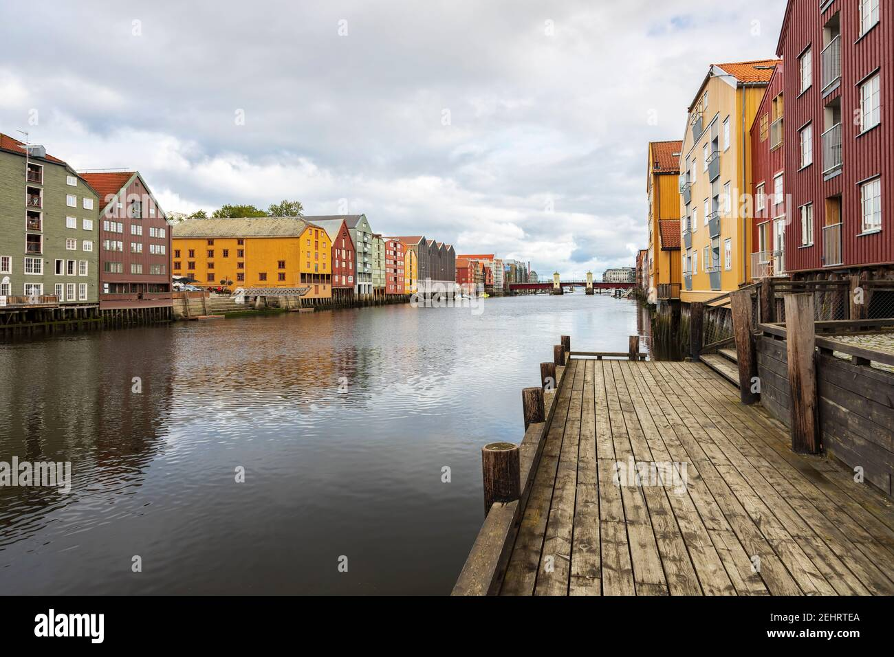 Colourful buildings along the river nidelva, in Trondheim, Norway. Stock Photo