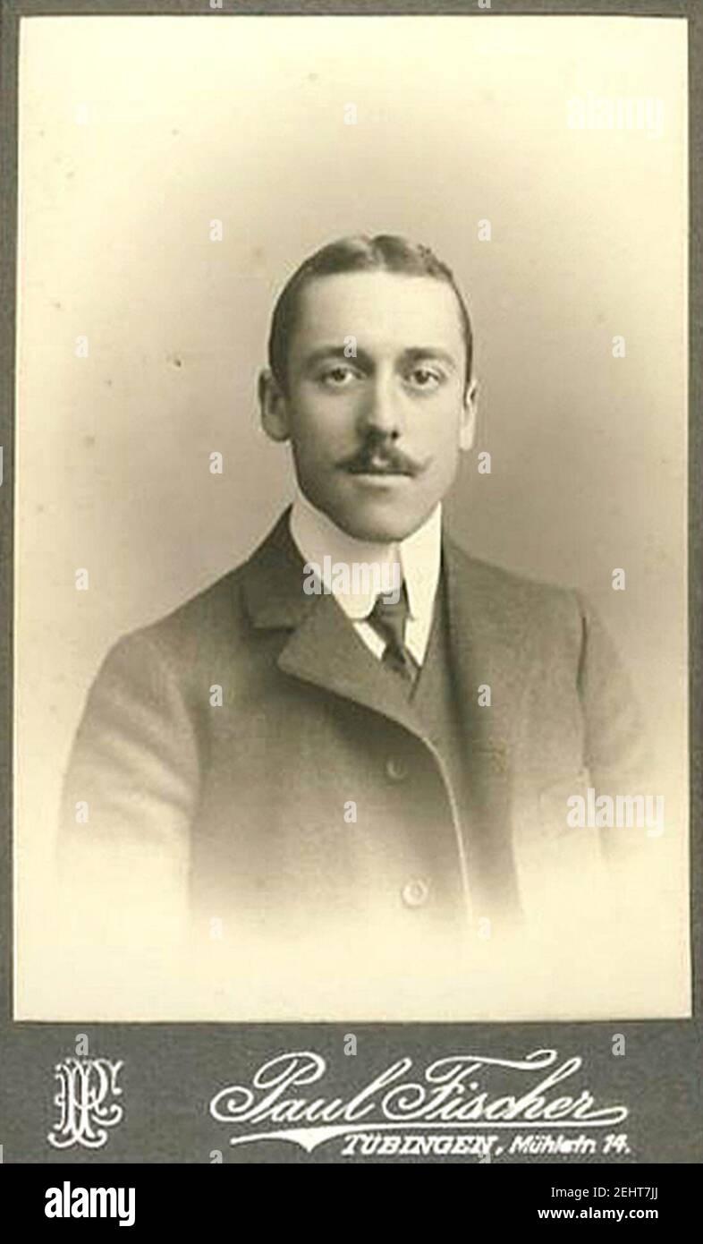 Paul Fischer - Porträtfoto eines Mannes (CdV, März 1907). Stock Photo