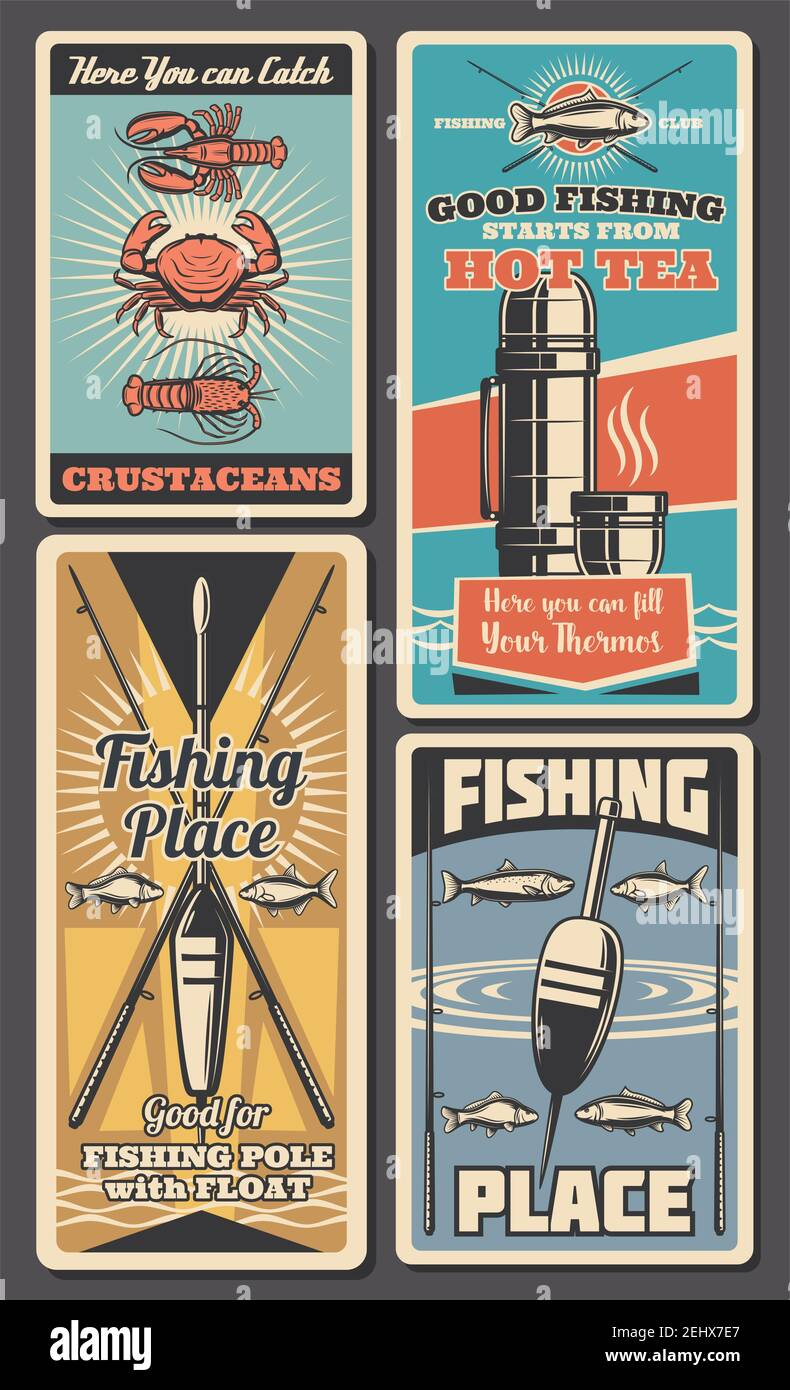 Fishing tackle and bait shop retro banners of rod, hook and lure, fish, spinning and float, salmon, trout and tuna, crab, lobster and bass. Fisherman Stock Vector
