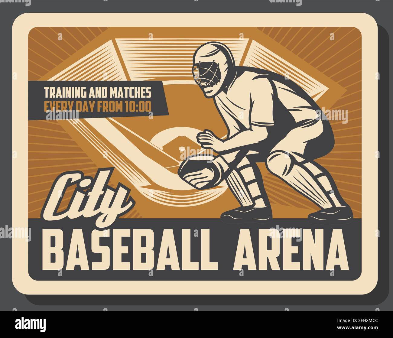 Sport arena for baseball retro poster with catcher in protection. City play field for trainings and matches of professional players. Sportsman in helm Stock Vector