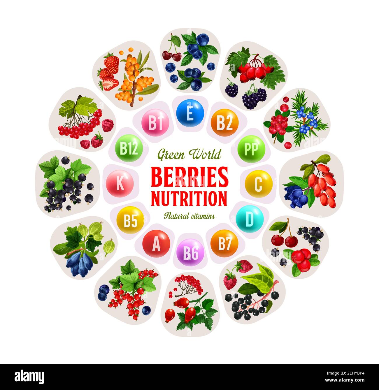 Vitamins in berries, nutrition benefits of strawberry, cherry and ...