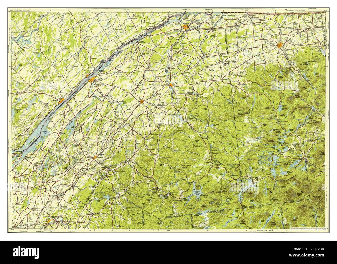 Ogdensburg, New York, map 1953, 1:250000, United States of America by Timeless Maps, data U.S. Geological Survey Stock Photo
