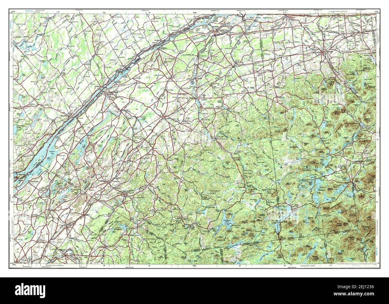 Ogdensburg, New York, map 1948, 1:250000, United States of America by Timeless Maps, data U.S. Geological Survey Stock Photo