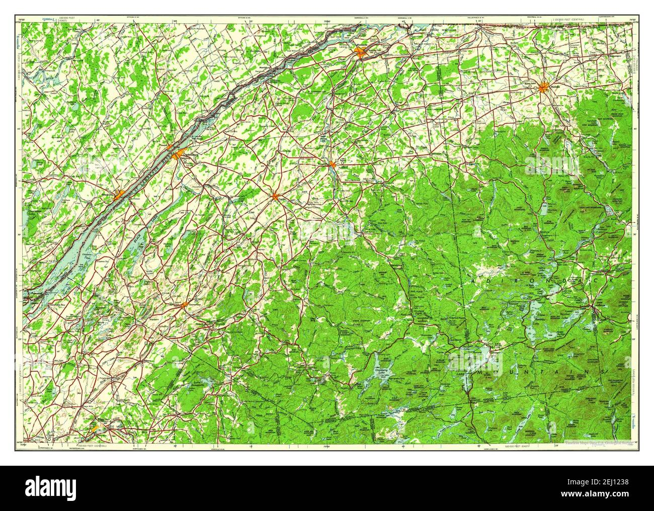 Ogdensburg, New York, map 1961, 1:250000, United States of America by Timeless Maps, data U.S. Geological Survey Stock Photo