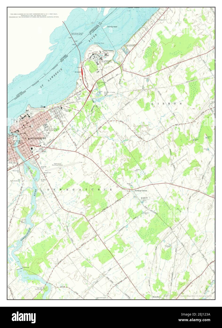 Ogdensburg East, New York, map 1963, 1:24000, United States of America by Timeless Maps, data U.S. Geological Survey Stock Photo