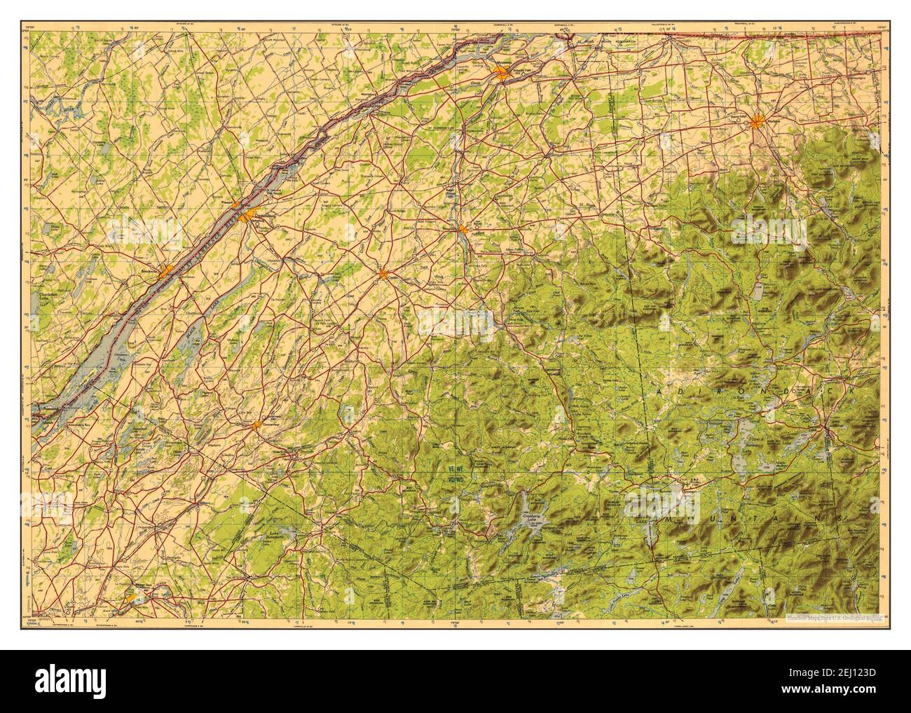 Ogdensburg, New York, map 1951, 1:250000, United States of America by Timeless Maps, data U.S. Geological Survey Stock Photo