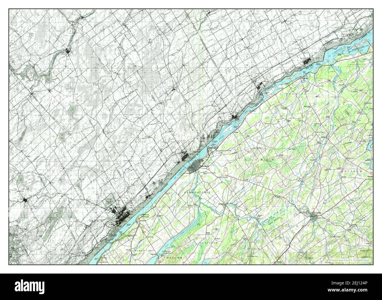 Ogdensburg, New York, map 1985, 1:100000, United States of America by Timeless Maps, data U.S. Geological Survey Stock Photo