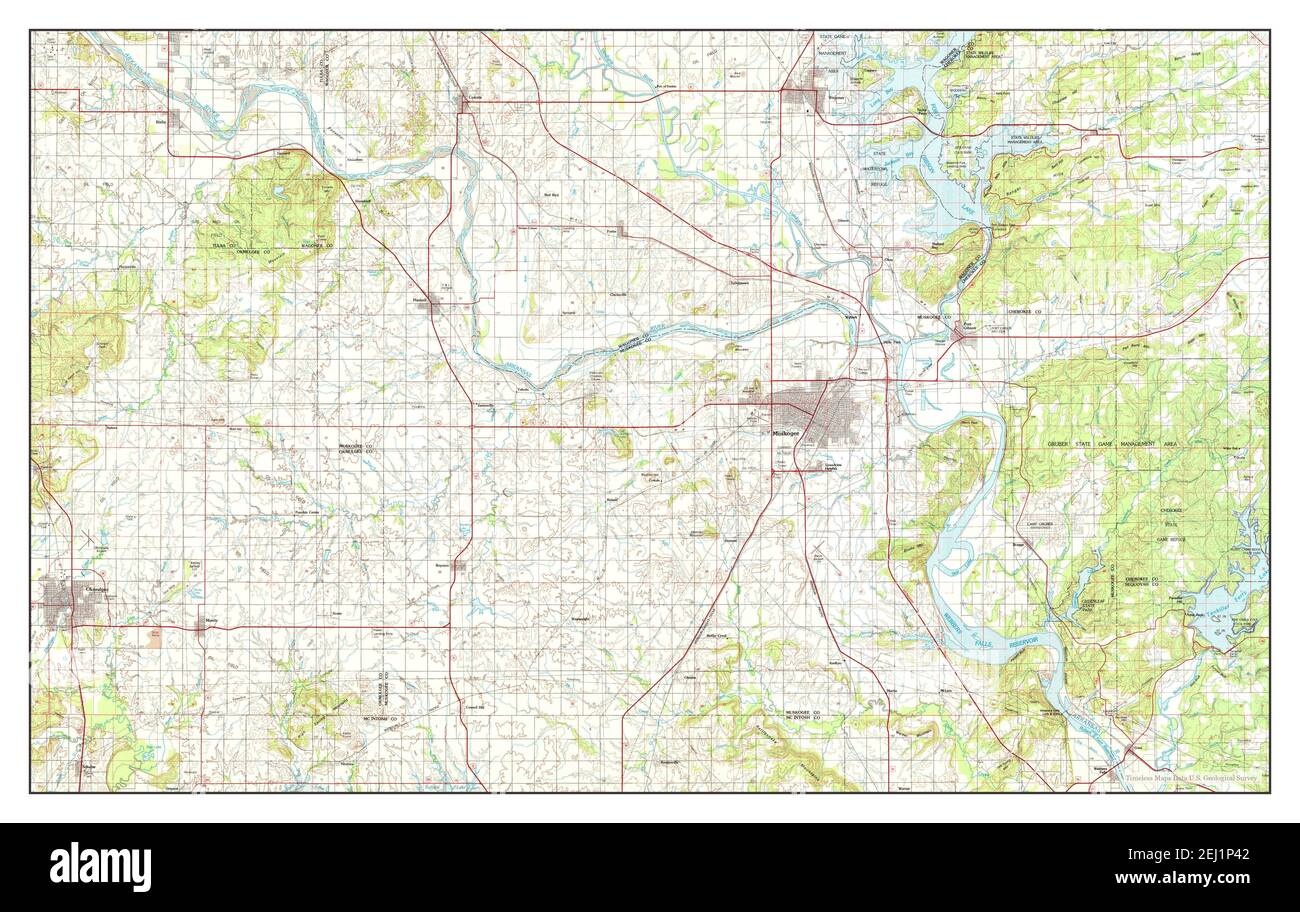Muskogee, Oklahoma, map 1978, 1:100000, United States of America by Timeless Maps, data U.S. Geological Survey Stock Photo