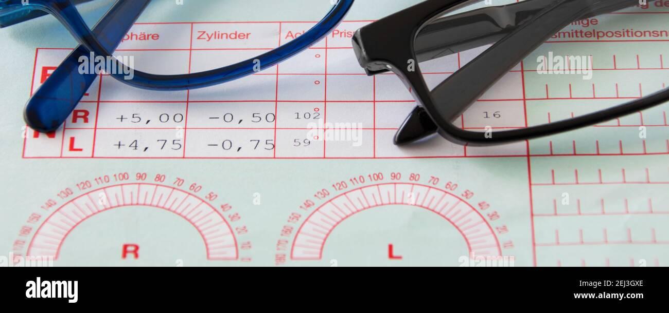 Augenarzt Rezept für Brille Banner Stock Photo