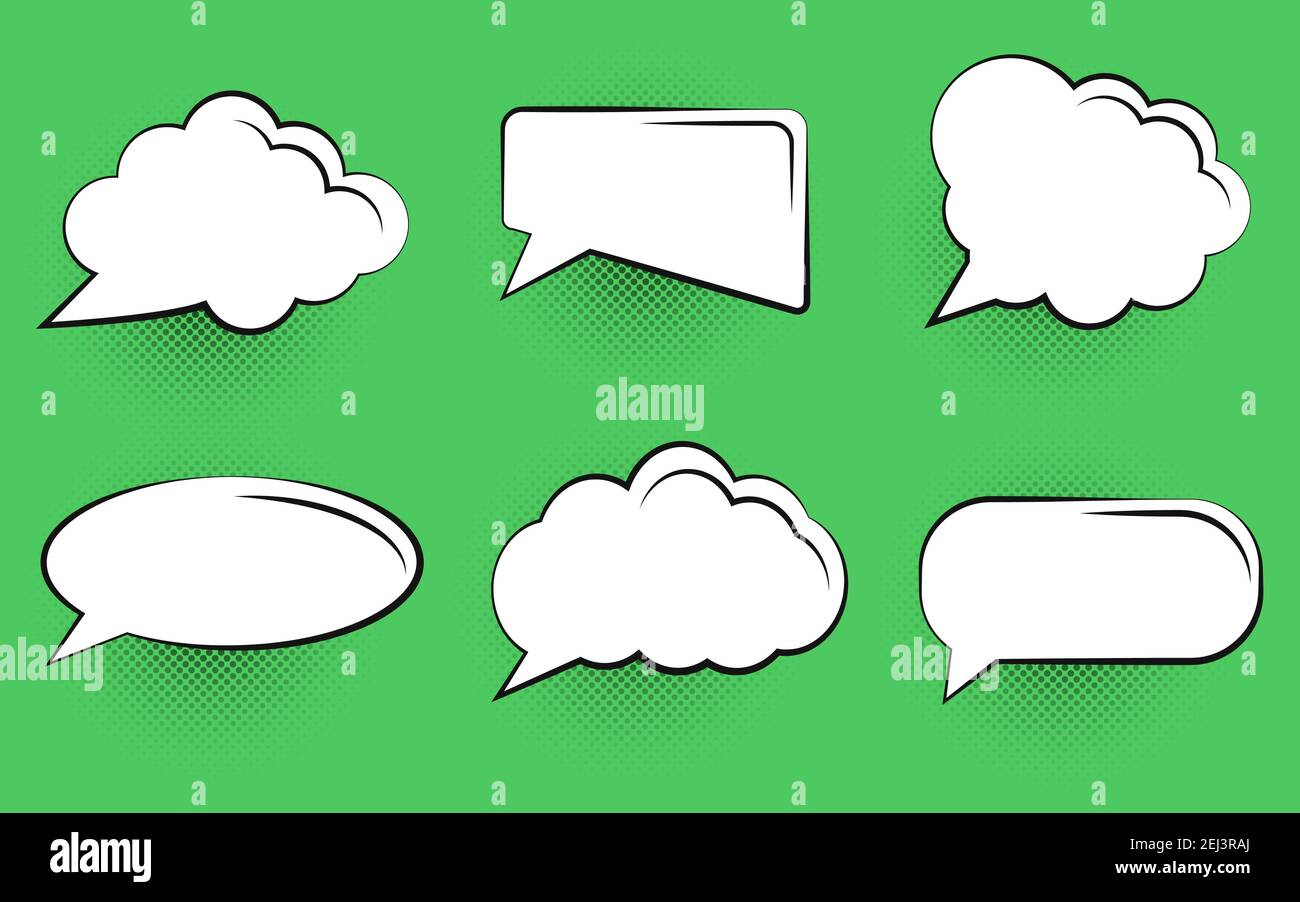 Comic Speech Bubble Set on green background. EPS 10 Stock Vector