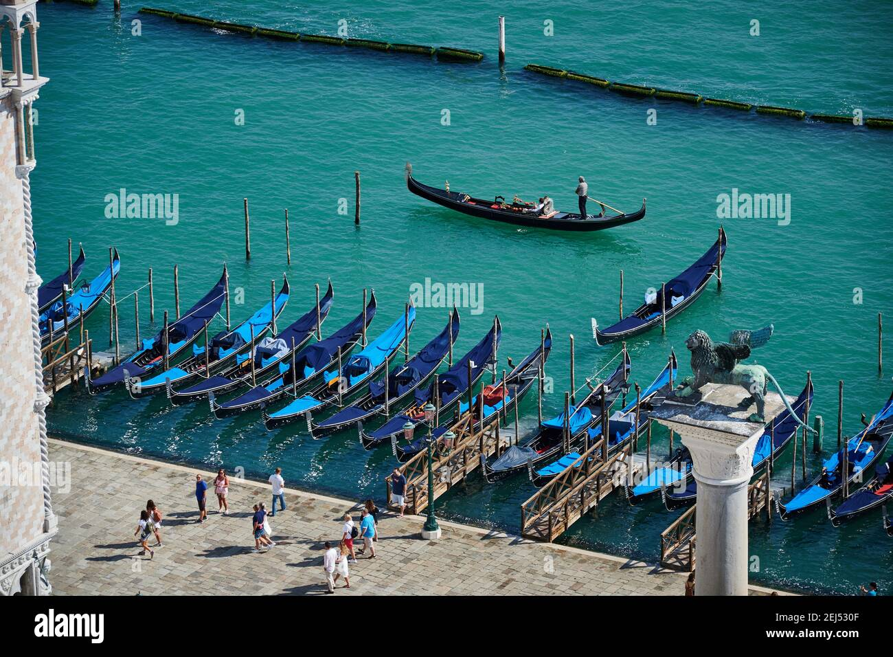 Aerial views from St. Mark's Tower on gondolas in the Venice lagoon, Veneto, Italy Stock Photo