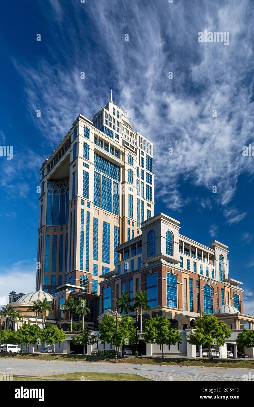 Kota Kinabalu, Sabah, Malaysia: Sabah State Administrative Centre, overlooking Likas Bay. The 33-storey office tower is the tallest building in Borneo Stock Photo