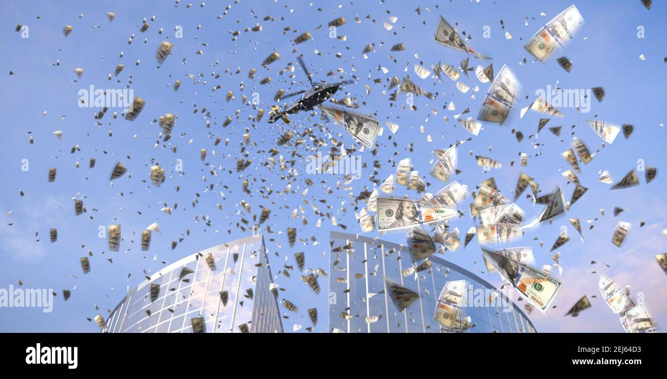 Helicopter money concept: a synonym for boosting consumer spending by giving money directly to the public. A helicopter throwing loads of single 100 U Stock Photo