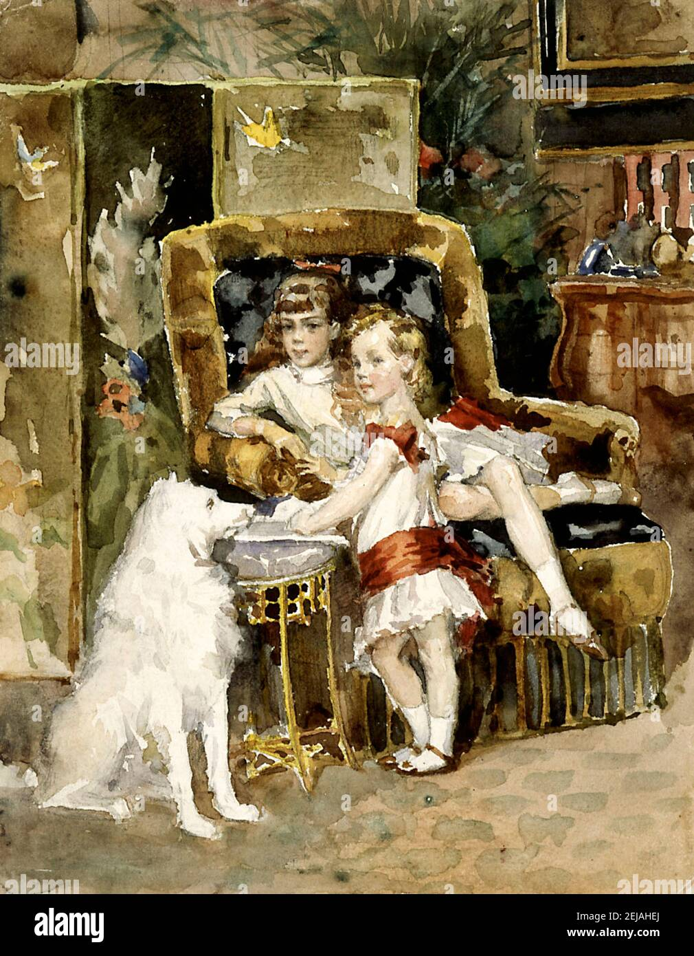 Grand Duke Michael Alexandrovich of Russia (1878-1918) and Grand Duchess Xenia Alexandrovna of Russia (1875-1960). Museum: Ateneum, Helsinki. Author: Albert Gustaf Aristides Edelfelt. Stock Photo