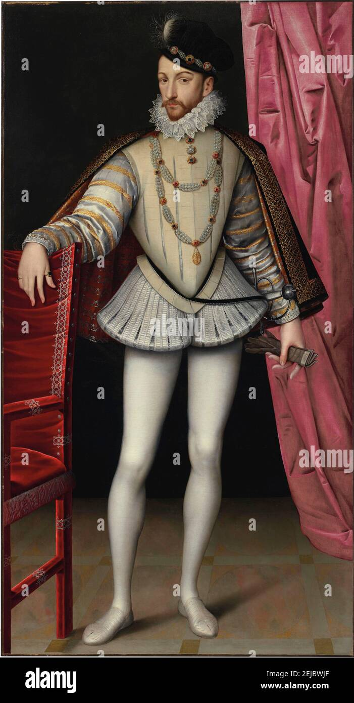 Portrait of King Charles IX of France (1550-1574). Museum: PRIVATE COLLECTION. Author: FRANÇOIS CLOUET. Stock Photo