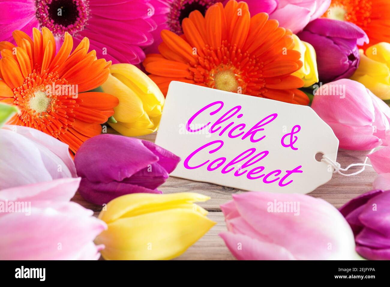 Click and Collect flowers and label Stock Photo