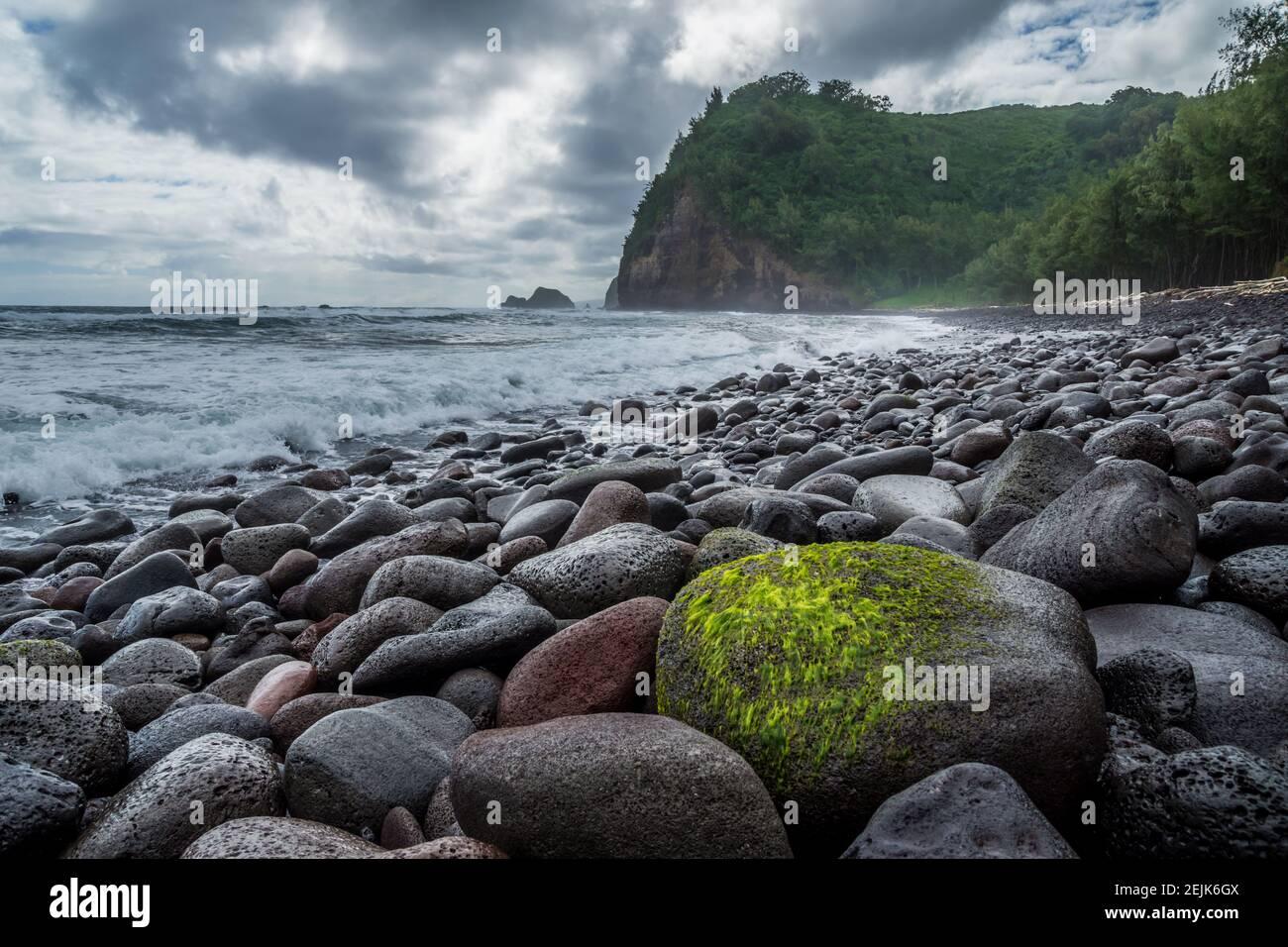 Pololu Valley Beach on the Big Island oh Hawaii Stock Photo