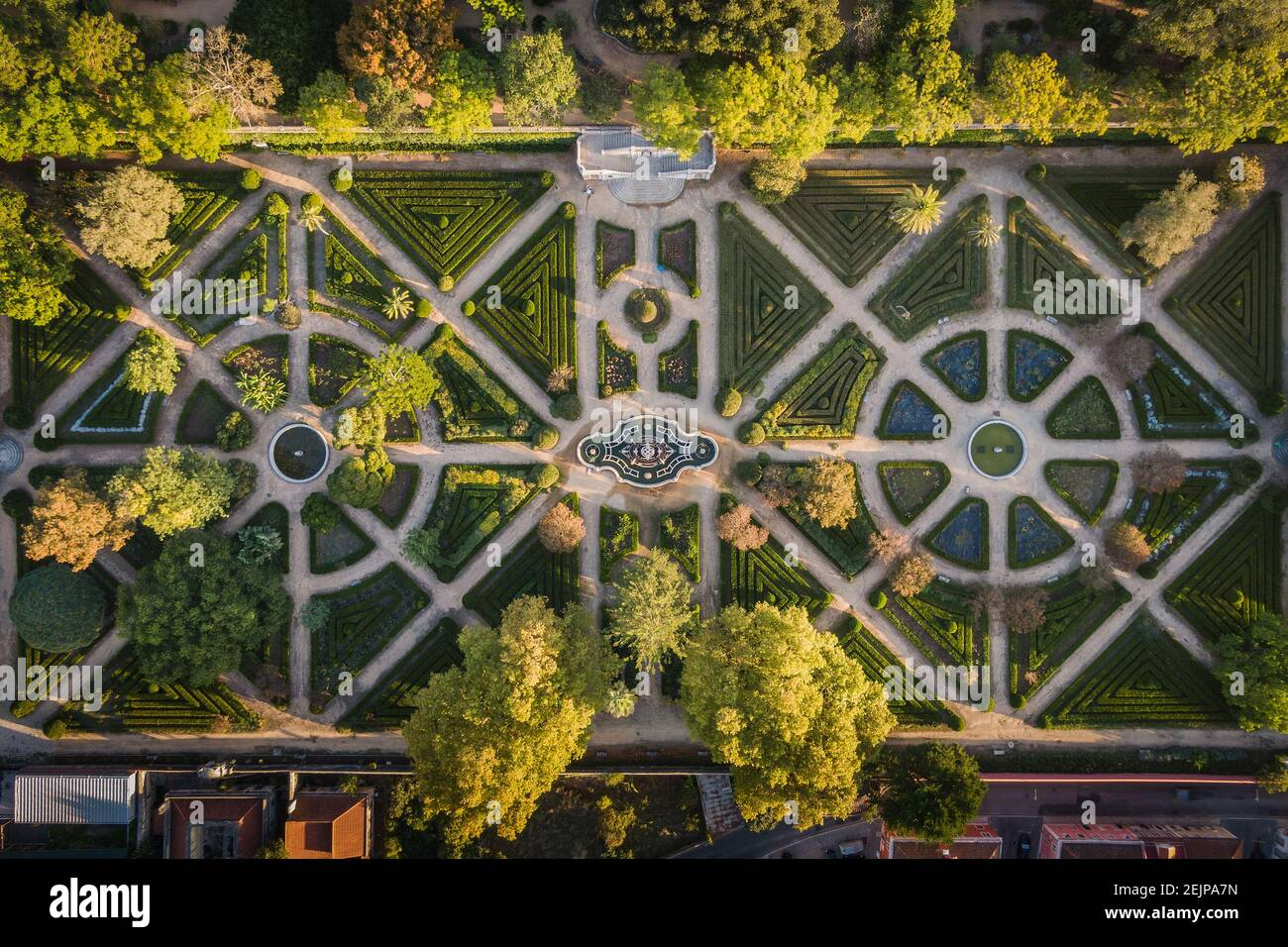 Aerial top down view of Ajuda Botanical Gardens at sunrise in Lisbon, Portugal. Stock Photo