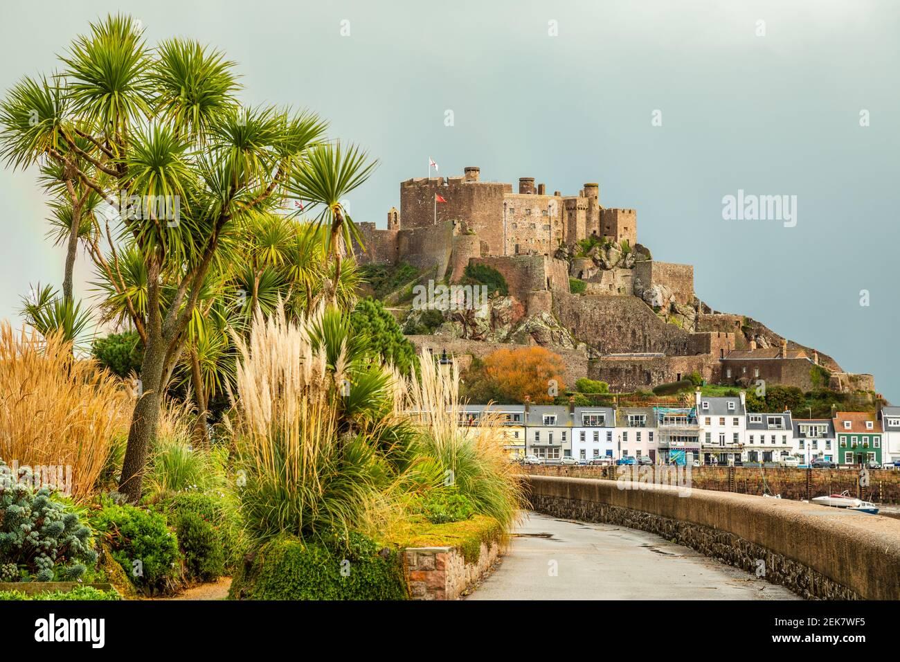 Mount Orgueil castle over the Gorey village, Saint Martin, bailiwick of Jersey, Channel Islands Stock Photo