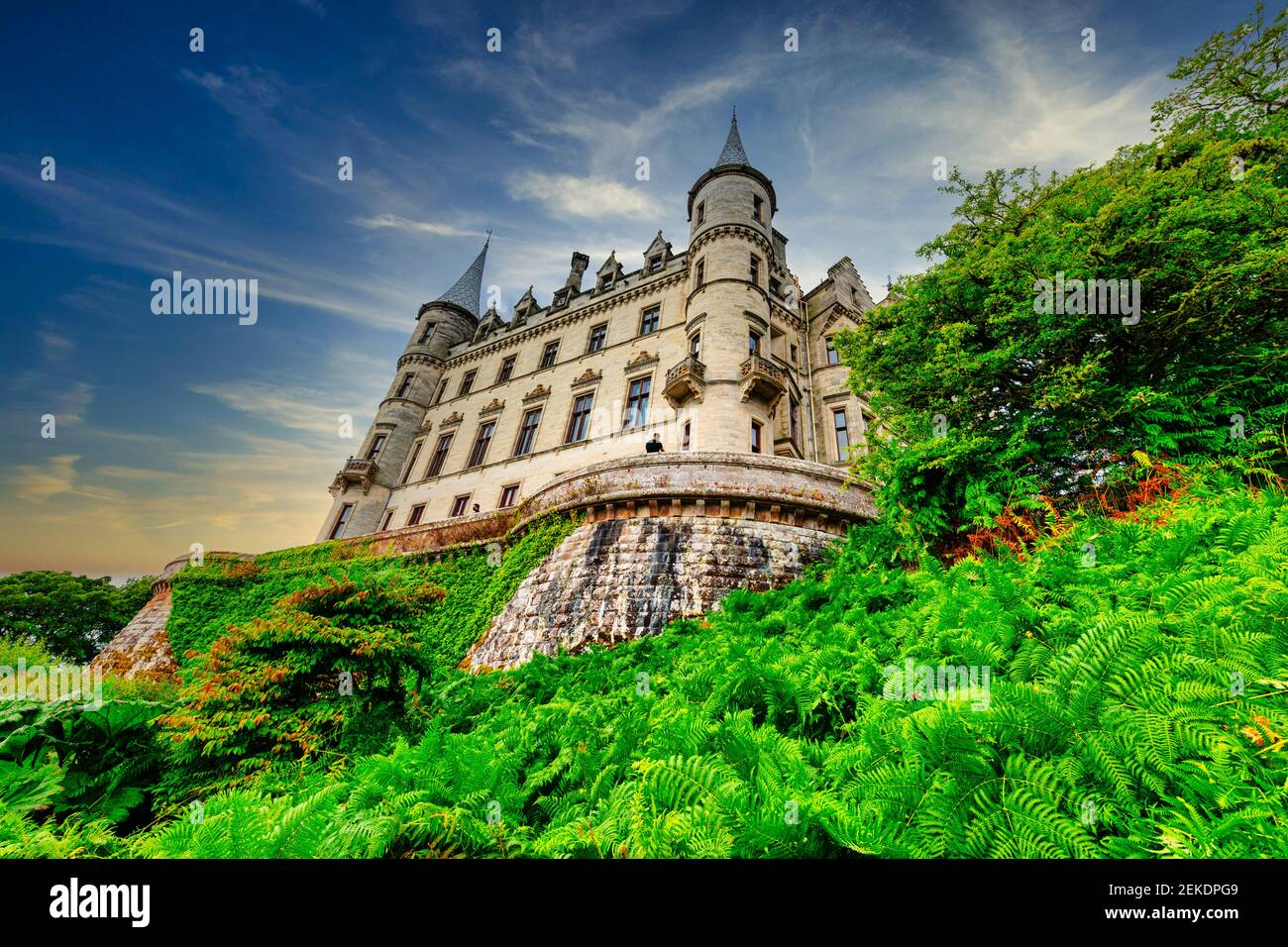 Dunrobin Castle. family seat of the Earl of Sutherland with 189 rooms  is the largest  great house in the Northern Highlands, Golspie,  Scotland Stock Photo