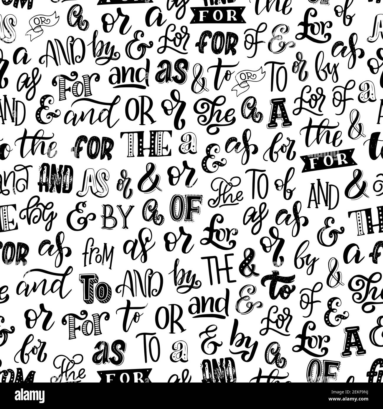 Articles, prepositions and ampersands seamless pattern. Vector font and lettering in monochrome endless texture. Calligraphy and English grammar eleme Stock Vector