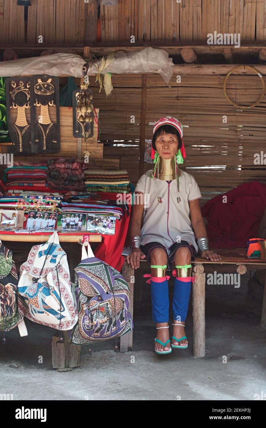 Giraffe women village, karen village Stock Photo