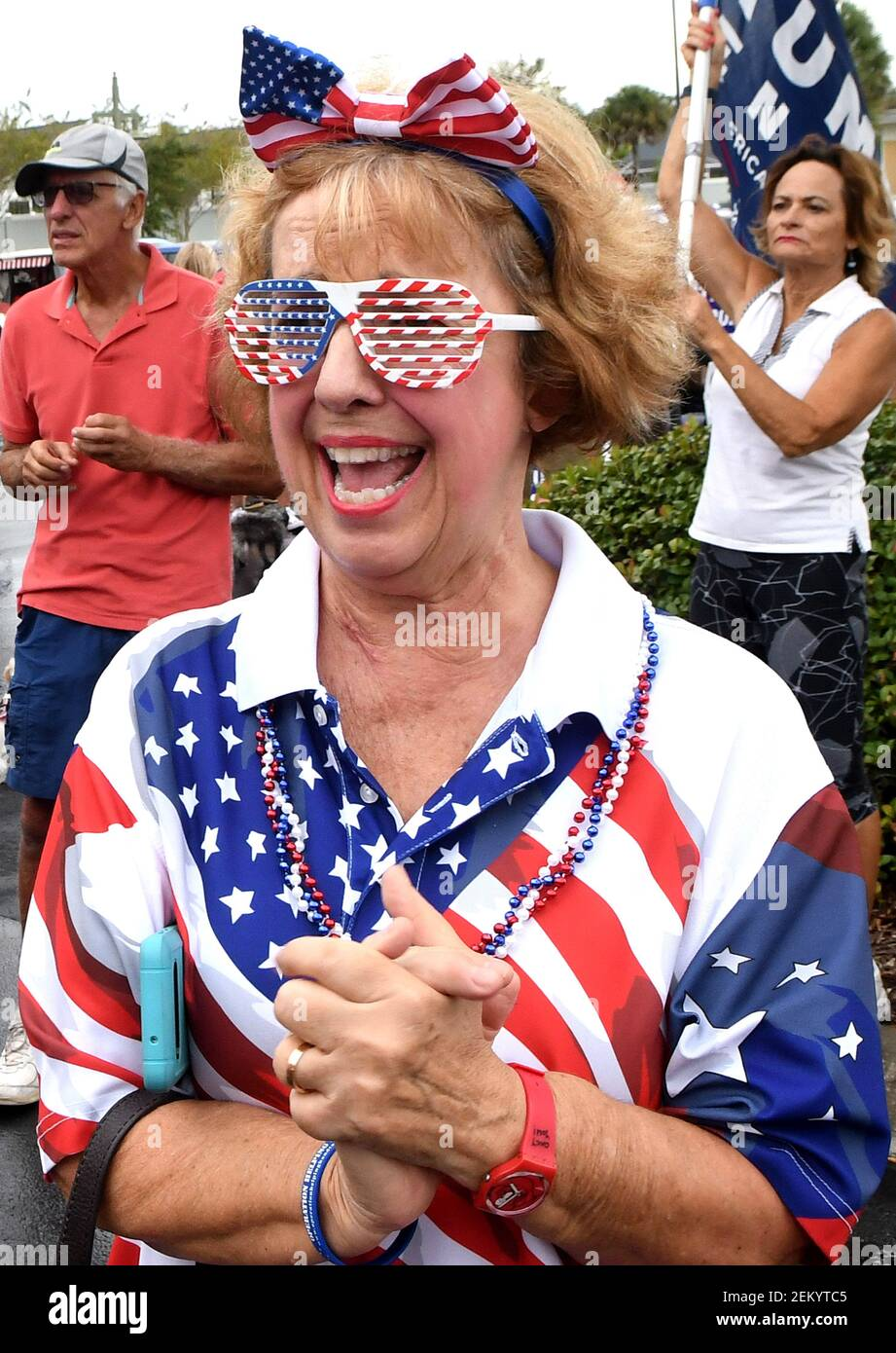 Denise Lyonnais wears patriotic clothing at a golf cart parade in support of U.S. President Donald Trump the day after Trump lost the 2020 U.S. presidential election to former Vice President Joe Biden. Prior to the parade, supporters sang patriotic songs, they prayed for Mr. Trump, and they collected donations for Trump's legal fees to contest the election results. (Photo by Paul Hennessy / SOPA Images/Sipa USA) Stock Photo