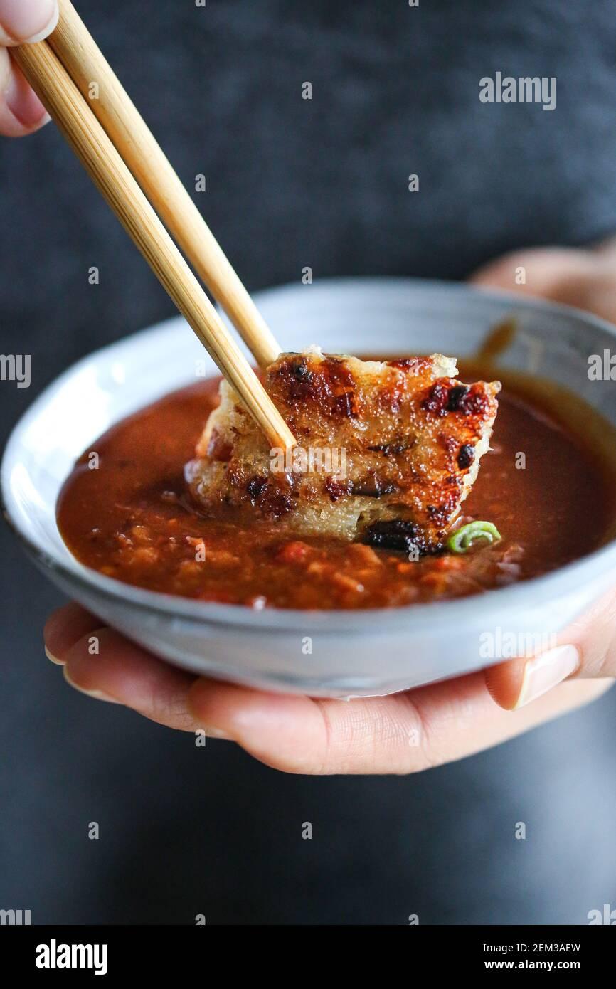 Stir-fried lo bak gao aka turnip cake Stock Photo