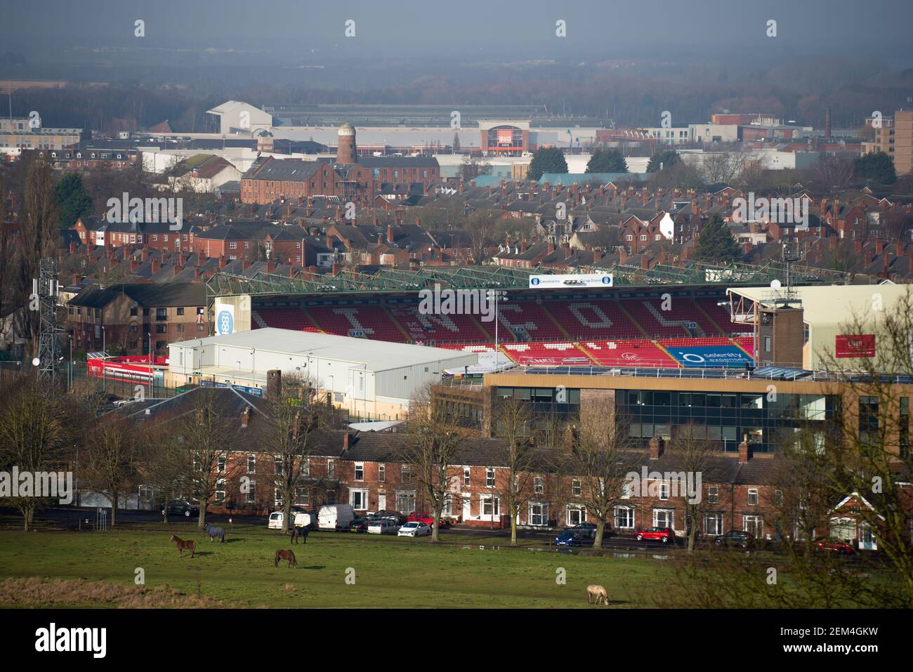 Lincoln City Football Club, professional association football club, League One, English league football Sincil Bank stadium, EFL League One, LNER. Stock Photo